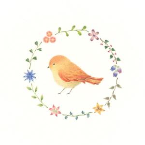 Little Orange Bird and Wreath