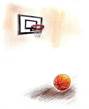 ボールは大きく弧を描き、バスケットネットに吸い込まれて、地面に落ちた。