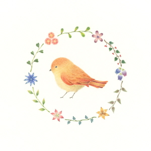 Little Orange Bird and Wreath